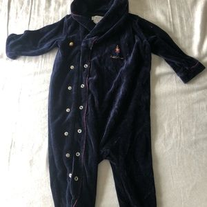 Ralph Lauren Velvet one footed piece 6M blue